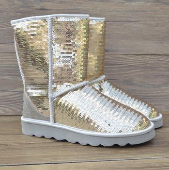 Winter Genuine leather logo patch Sequins Discolor Golden Sliver Snow boots women's fashion shoes