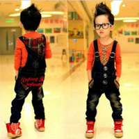 Korean children wear boys jeans alphabet embroidered hooded overalls piece pants pocket trousers Dingkou