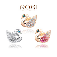 ROXI Christmas fashion small swan Earrings ,gold glated genuine Austrian crystals handmade two color fashion jewelry,2020219250