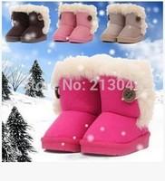 2014 Fashion Warm Shoes Children's Boots Winter Boy Girls Warm Winter Flat Snow Boots red Pink Brown Beige