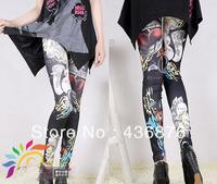 Vintage Blackmilk Gothic Black Background Cartoon Loving heart Print Leggings For Women Tie Dye Pants Jegging Slimming