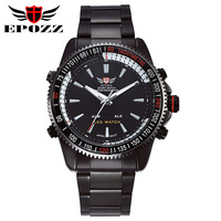 Dropship Newest sports watches men luxury brand EPOZZ men's full steel watches analog digital date alarm LED quartz wrist watch