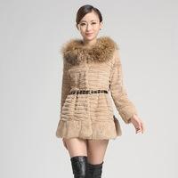 Fur 2013 high quality rex rabbit hair fur raccoon medium-long flowers slim fur coat
