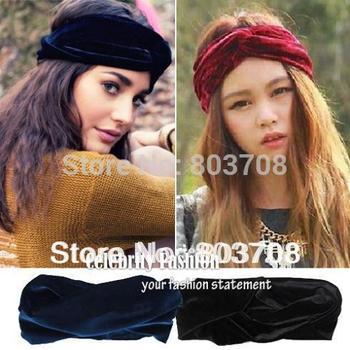 2014 New Arrival Celeb Style Neon Headband Vintage Double Stretch Velvet Turban Headwrap Winter Bandanas Free Shipping