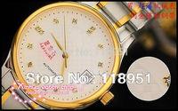 2014 New Rhinestone calendar display shockproof mechanical watches sapphire steel high quality luxury Swiss brand couple watch