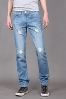 Wholesale Men's Fashion Brand Jeans Distressed/Hole Light Blue Denim Jeans Mens Cotton Pants Slim Fit Trousers