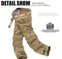 Promotion Free Shipping New Arrival Mens Cargo Pants Classic Straight Leg Zipper Multiple Pocket Design Pants