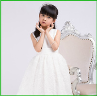 2013 Spring And Autumn Appliques Children Little Children Stunning Mid-Calf  White Flower Girl Dress Vestidos