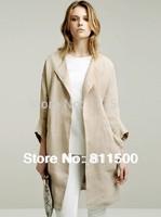 New Elegant women brand linen long trench coat