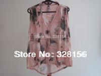 Promotion ! 2014 women's print sleeveless chiffion blouse stand collar shirt Freeshipping