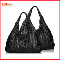 2015 Spring Bags Genuine Leather For Woman Pleated Sheepskin Large Tote Bags Women Handbag Designer Famous Brand