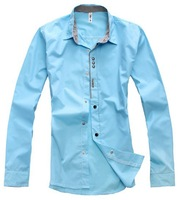 2014 Spring autumn new men's long sleeve shirt Korean Slim fit shirts size L-XXL
