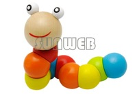 New Baby Toys Children Variety Twist-colored Insects Wooden Toys Educational Toy For 0-3 years 12988
