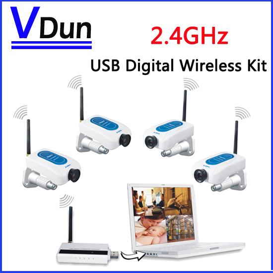 2.4GHz USB Digital Wireless CCTV Camera Kit 4pcs CCTV Camera +1pcs USB Receiver for home security,VD-W213DE4(China (Mainland))