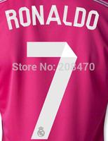 2014 2015 Real Madrid away pink #7 Ronaldo kids soccer jerseys children fooball uniforms Brand boys sport shirts Free Shipping