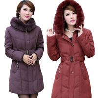 2014 Winter Jacket Women Winter Coat Women Rex Rabbit Fur Collar Medium-long White Duck down coat Women Parka Plus Size 1306