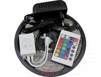 Waterproof 3528 RGB Led Strip Flexible Light 60led/m 5M 300 LED SMD DC 12V+ IR Remote Control + 2A Power Supply +free shipping