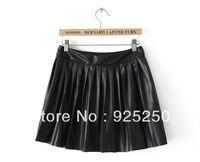 mini skirt leather pu women autumn winter 2013 fashion solid color black puffy faux leather rock ruffle short skirt freeshipping