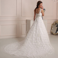 Junoesque princess style bateau neck irish lace backless wedding dresses