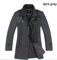 new men's stylish trench coat winter jacket mandarin collar thick pocket wool coats male