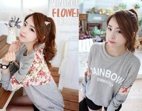 new 2013 autumn -summer women's loose lace blouse flower printed casual long-sleeve women's T-shirt sweatshirt  M L XL