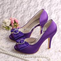 Custom Handmade Peep Toes Wedding Shoes Purple for Women High Heels Bride Pumps Free Shipping