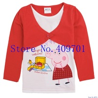 100cotton nova kids wear dirls 2013 fashion hot cotton hot sales and free shipping long sleeve  t shirt printer peppa pig F4261#
