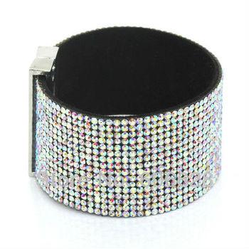 AB Crystal Leather Bracelet Модный Cuff Bracelets, Diamante Женщины bracelets, Micro ...