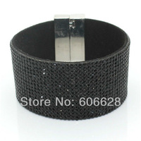 Wholesale Magnetic Clasp Bracelet Micro Pave Zircon Belt Black Color Zircon HIP107 Free Shipping!