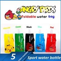 20pcs/lot Cartoon Outdoor Sport Cartoon Portable Folding Sports Water Bottle/Foldable Water Bottle 480ml(16oz) 6 color
