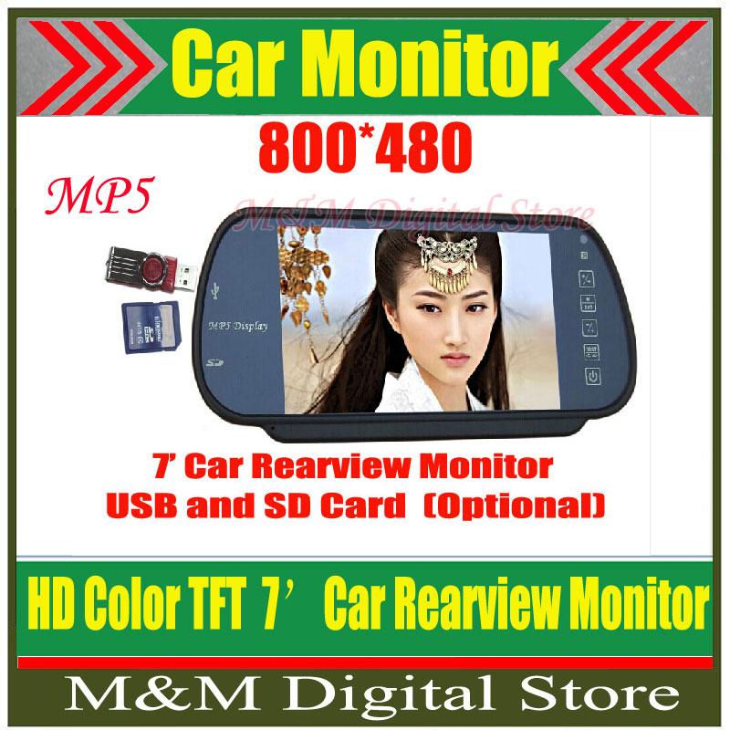 "Factory Selling Car 7"" Color TFT LCD Car Rearview Monitor SD USB MP5 FM Transmitter Car Camera Mirror DVR Free Shippinrg(China (Mainland))"