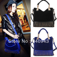 2013 fashion handbag caroset flannel one shoulder cross-body women female lady casual nubuck leather lint rivet  chains bag