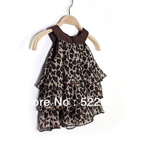 Girls' summer new style leopard chiffon dress vest dress kids  baby princess dress children's clothing jumper dress sundress