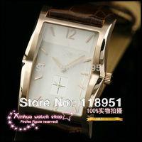 2014 New Hot rectangular genuine leather belt high import quartz movement sapphire ran second high-quality Swiss men's watch