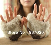 2013 Winter plush fingerless gloves women  warm plush wool knitted gloves/mitten Free shipping