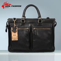 "100% GENUINE LEATHER Cowhide Shoulder Leisure Men's Bag Business Messenger Portable Briefcase Laptop Large Purse 14"" Handbag 859"