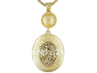 Oval Drusy Hammered 18K Yellow Gold Over Bronze Pendant and Necklace
