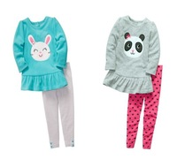1set Retail,Original Carters Girls Set,Cute Animal 2-piece Microfleece Legging Set,Girls Autumn Suit,Free Shipping IN STOCK