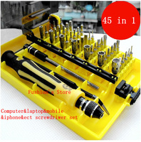 Free shipping,Precision Multi-function  Electron Torx Screwdriver Tool set 45 in 1 laptop computer mobile repair tool,1 pcs/lot