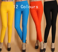 hot women candy color high waist pencil pants legging slim skinny pants lady trousers legging 12 colors