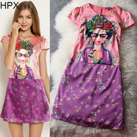 WA23480 European American Fashion 2014 new spring summer cartoon princess print bead silk blend dress women brand dresses XL