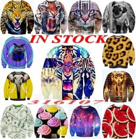 in stock!2014 Women Men animal Leopard tiger/cat print Pullovers 3d Sports sweatshirts Hoodies jacket Space galaxy sweaters tops