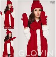 13color Christmas gift  3pcs set women fashion gloves scarf  hat kit flower yarn plus velvet thermal female hat scarf gloves set