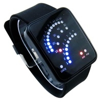 12 Color Retail/Binary Fashion LED Watch for Women Ladies/Bracelet Wristwatches/Hot Sale Silicone Sport Watche LED003