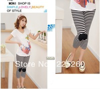 L004 fashion 2013 summer autumn black and white stripe Modal fitness capris leggings and pants for maternity and pregnant woman