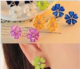 Fashion earrings 2014 accessories beautiful flower crystal five petals female stud earrings