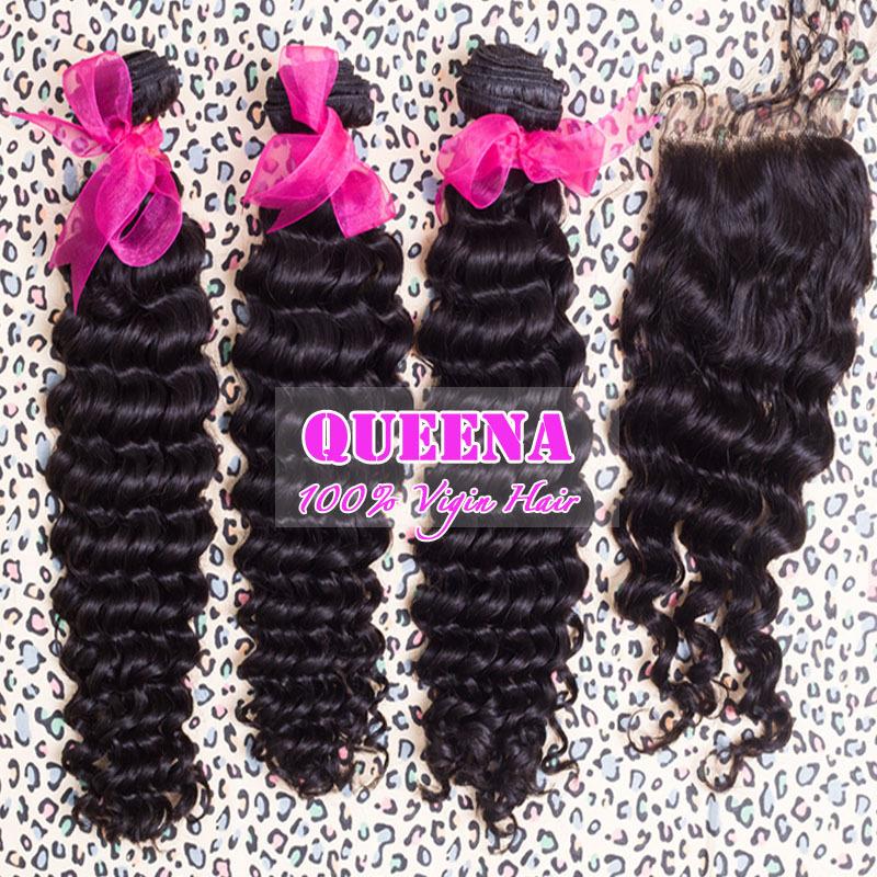 Brazilian virgin hair deep curl weave 4pcs lot lace closure with hair bundles,queena hair products virgin human hair,Grade 5A(China (Mainland))