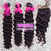 Brazilian virgin hair deep curl weave 4pcs lot  lace closure with hair bundles,queena hair products virgin human hair,Grade 5A