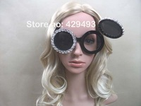 Free shipping ladygaga MICKEY big round sunglasses MICKEY MOUSE clamshell glasses with crystal