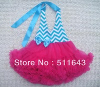 wholesale 10pc lot Europe brand 2013 girls kids blue stripe chevron pattern pink dresses baby dance princess tutu cute dresses